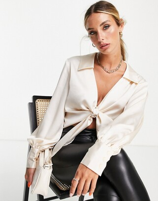 ASOS DESIGN long sleeve satin shirt with tie front in oyster
