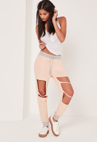 Missguided Extreme Distressed Contrast Waist Joggers Nude