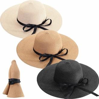 Satinior 3 Pieces Foldable Roll up Cap Women Wide Brim Straw Hats Floppy Beach Sun Hats