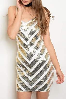 Verty Ivory Sequined Dress