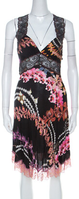 Just Cavalli Black Orchid Print Stretch Lace Trimmed Cross Back Dress M
