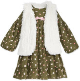 Good Lad 2-Pc. Floral-Print Dress and Vest Set, Little Girls (4-6X)