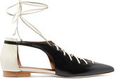 Malone Souliers Montana Lace-up Two-tone Leather Point-toe Flats - Black