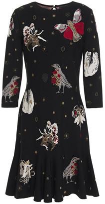 Alexander McQueen Fluted Metallic Jacquard-knit Mini Dress