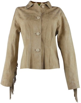 Zut London Fringed & Studded Suede Leather Fitted Jacket Beige