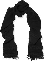 Agnona Cable knit wool and cashmere-blend scarf