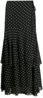 Pinko Polka Dot Print Ruffled Skirt