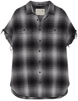 R 13 Oversized Frayed Checked Cotton And Silk-Blend Shirt