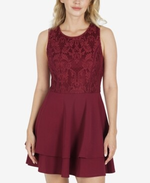 Speechless Juniors' Lace-Top Dress