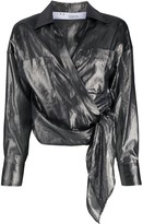 IRO Anatye metallized wrap shirt