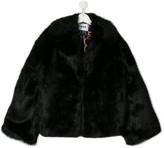MSGM Kids TEEN faux-fur oversized jacket