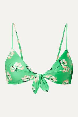 Vix Petals Knot Floral-print Bikini Top - Bright green
