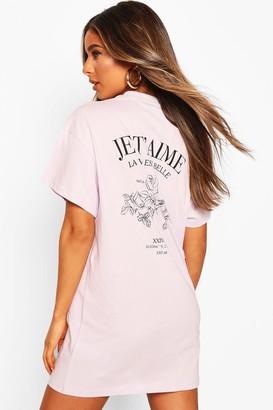 boohoo Petite Floral Print Slogan T-Shirt Dress