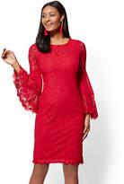 New York & Co. Statement-Sleeve Lace Sheath Dress