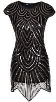 Aecibzo Women 1920s Great Gatsby Sequined Irregular Hem Mini Flapper Dress (S, )