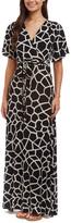 Glam Black & White Giraffe Tie-Waist Maxi Dress