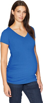 Motherhood Maternity Women's Maternity Short Sleeve V-Neck Side Ruched Tee Shirt