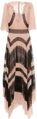 ZUHAIR MURAD Lace-Paneled Pleated Crepe Dress