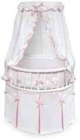 The Well Appointed House Round Baby Bassinet with White Waffle and Pink Bedding
