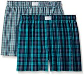 Tommy Hilfiger Men's 2-Pack Green Plaid Woven Boxer