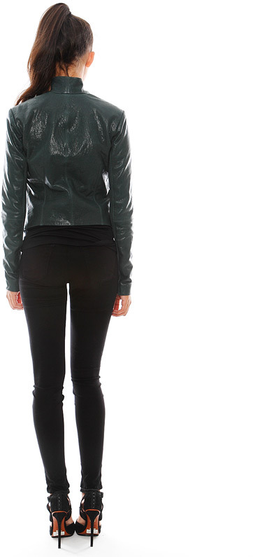 Veda Boss Leather Jacket in Sage