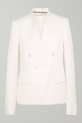 Stella McCartney Satin-trimmed Grain De Poudre Wool Blazer - Ivory