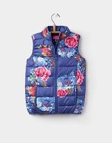 Joules 124397 Girls Marsha Quilted Gilet Jacket in Navy Floral Print