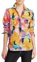 Lauren Ralph Lauren Point Collar Button Front Printed Cotton Silk Voile Shirt