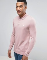 Asos Pique Muscle Long Sleeve Polo In Pink With Logo
