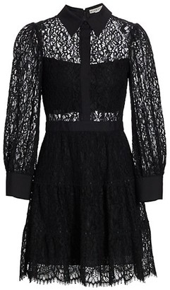Alice + Olivia Anaya Tiered Lace Short Dress