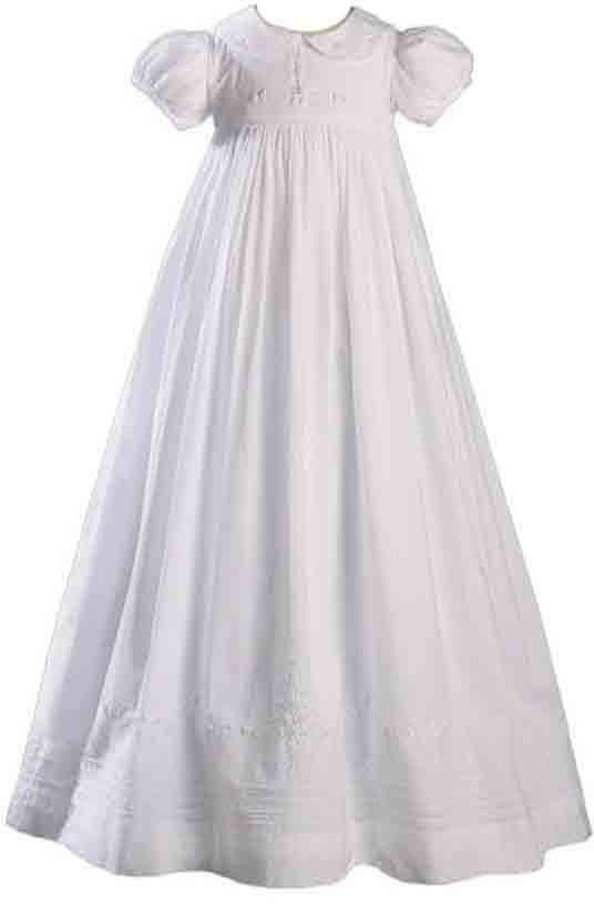 """Little Things Mean a Lot 33"""" Girls Cotton Dress Heirloom Christening Gown Baptism Gown with Hand Embriodery 12M"""