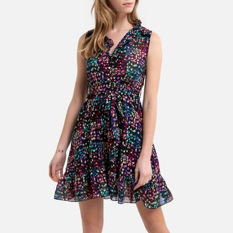 Molly Bracken Sleeveless Printed Mini Dress with Tie-Waist