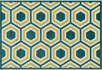 "Brayden Studio Winifred Geometric Green/Yellow Indoor/Outdoor Area Rug Rug Size: Rectangle 9'2"" x 12'1"""