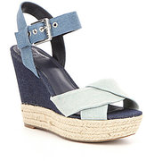 GUESS Sanda Denim Fabric Criss Cross Ankle Strap Espadrille Wedge Sandals
