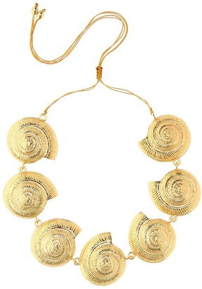 Tohum Design Archi 24kt gold-plated shell necklace