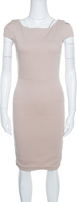 Alice + Olivia Employed Beige Stretch Jersey Cap Sleeve Sheath Dress M