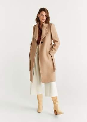MANGO Belted wool coat dark navy - XXS - Women