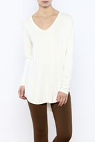 Tribal V-Neck Cream Sweater