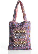 Moyna NWT Purple Pink Silver Metallic Embroidered Small Mini Tote Handbag