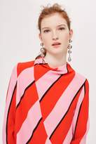 Topshop High Neck Bold Stripe Blouse