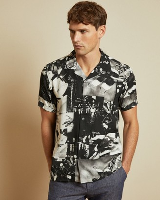 Ted Baker Photographic Lyocell Revere Collar Shirt