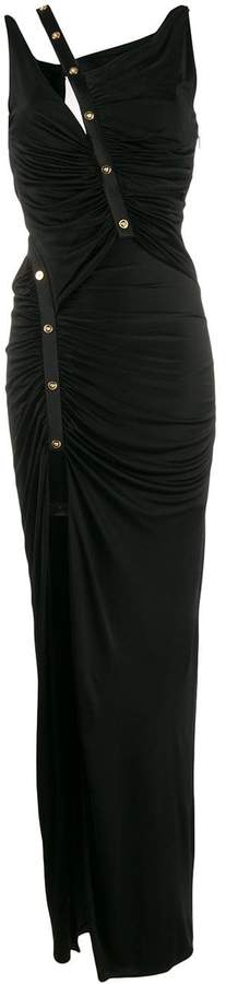 Versace asymmetric ruched long dress