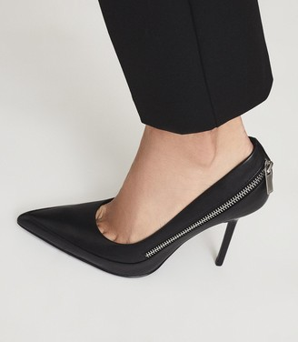 Reiss Hoxton Court - Leather Zip Detail Court Shoes in Black