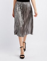 Charlotte Russe Metallic Pleated Midi Skirt