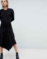 Asos Ruched Sweat Dress With Shoulder Pads