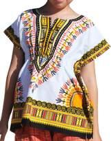 Raan Pah Muang RaanPahMuang Childs African Dashiki Festival Bright Cotton Open Collar Shirt