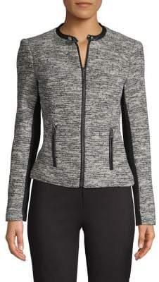 Calvin Klein Zip-Front Tweed Jacket