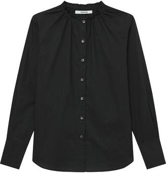 Smocked Neck Poplin Shirt