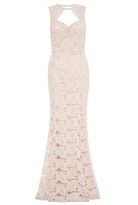 Quiz Champagne Lace Sweetheart Neck Fishtail Maxi Dress
