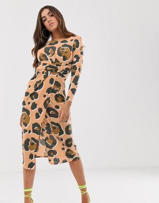 Asos Design DESIGN midi dress with cut out side in tonal animal print-Multi